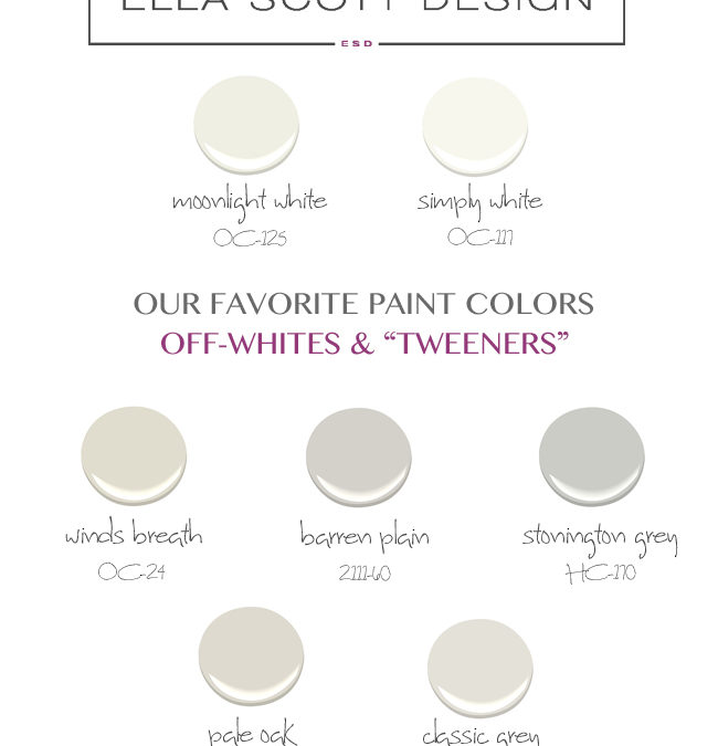 "Whites & Tweeners:  My ""go-to"" Paint Guide"